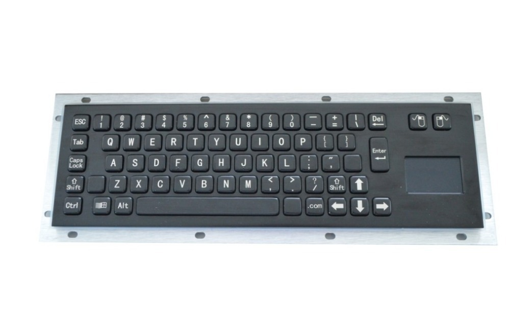 Black panel rear mounting 65 keys Tamperproof metal keyboard with touchpad for industrial equipment(China (Mainland))