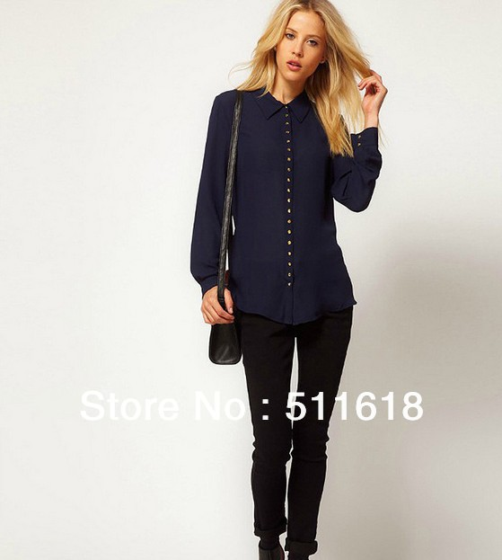 navy blue button down shirt women | Gommap Blog
