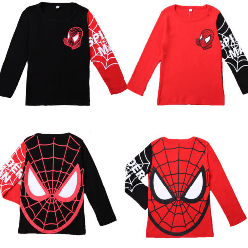 Гаджет  2014 New Fashion Kids Baby Boys Toddlers Long Sleeve T shirts Spider Man Cartoon 100%Cotton Tops 2-8Y Clothes None Детские товары