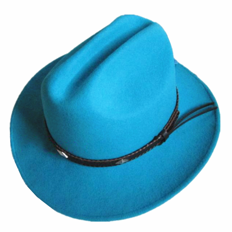 Unisex Blue Wool Felt Western Adventurer Safari Cowboy Hat + FREE SHIPPING(China (Mainland))