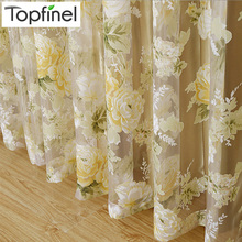 Top Finel HOT Modern Rose Floral Tulle for Window Curtain Sheer Curtains for Living Room the