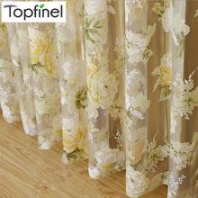 Top Finel HOT Moderna Rose Floral Tulle per la Finestra Tenda Tende Trasparenti per Soggiorno Camera Da Letto Screening Finestra Pannello(China (Mainland))