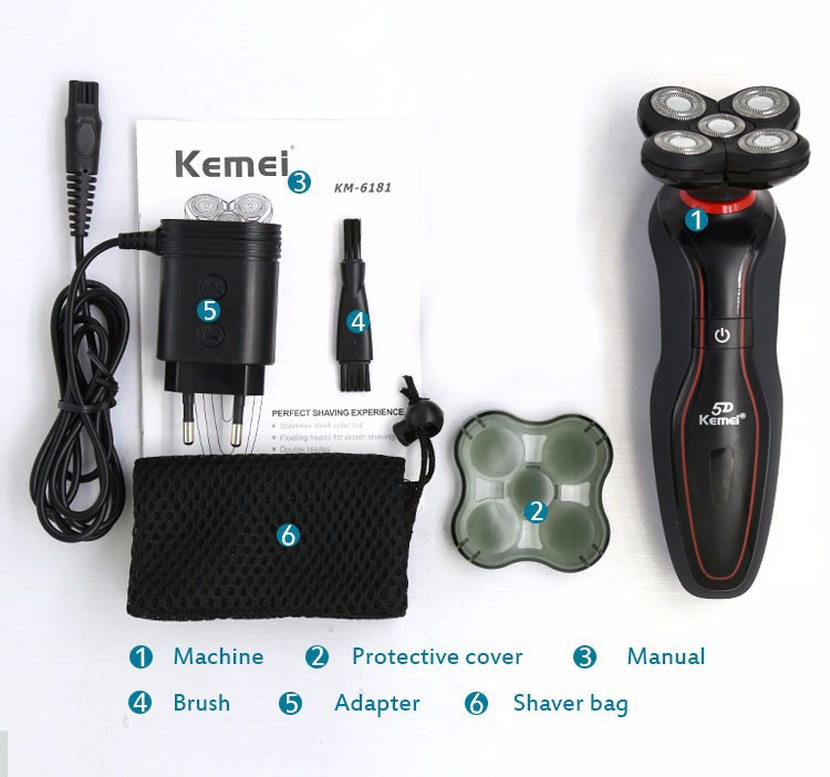 Buy Kemei 6181  Rechargeable Electric Shaver 5D knife head whole body washing electric razor men face care beard trimmer shaver cheap