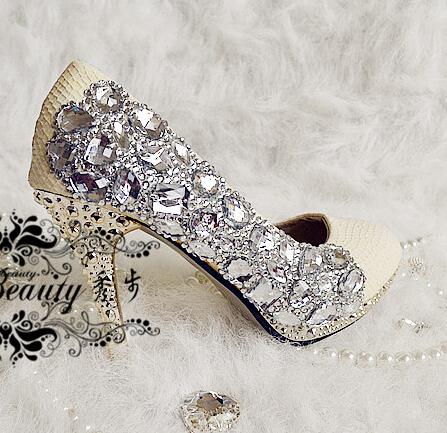 Rhinestone crystal wedding shoes white high-heeled shoes platform shoes wedding formal dress shoes thin heels bridal shoes stage