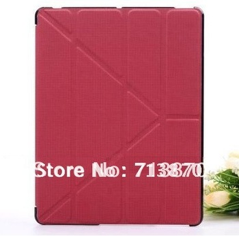 Transmutable cover for ipad 3 / 2 Embossed Hard Shell Anti-skid Rubber Leather case for New iPad,iPad2 Skidproof material
