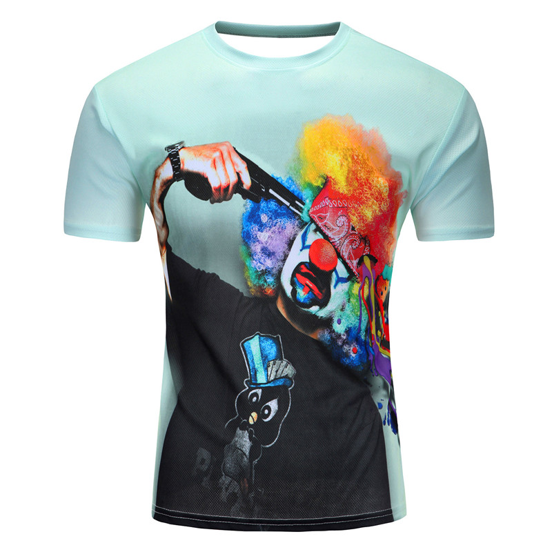 3d t shirt men 2016 new Tide 3 d digital printing short sleeve T-shirt suicide explosion head a clown Short sleeve T-shirt man(China (Mainland))