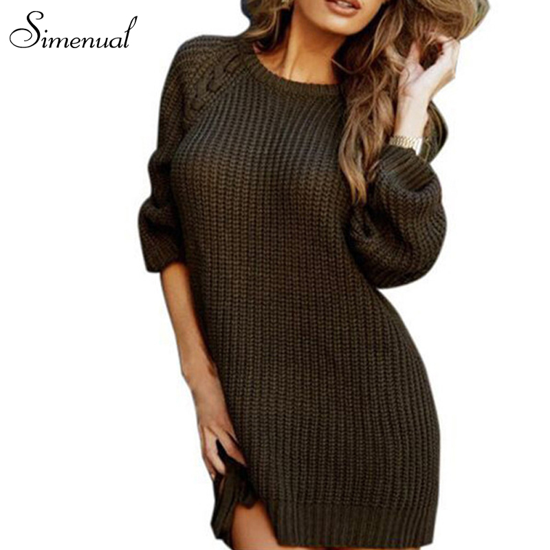 Lace up 2016 fashion autumn winter women sweaters pullovers hot sale slim knitted sweater dress ladies jumper pullover clothing(China (Mainland))