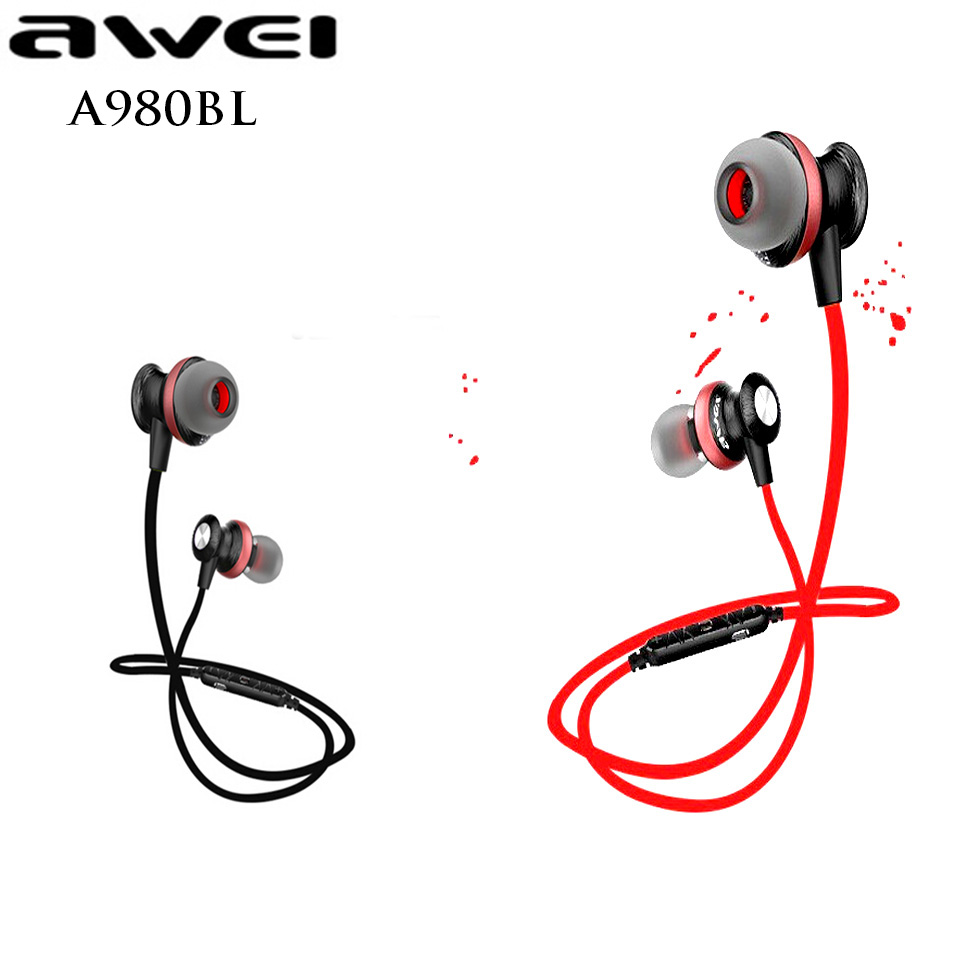 Original Awei A980BL Bluetooth Sport Wireless Earphones Waterproof headset Stereo Voice Control Noise Reduction with Microphone(China (Mainland))