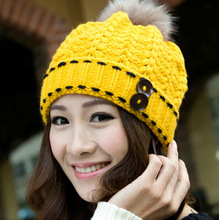 Fashion Women Hat Fall Winter Hats 7 Color Casual Beanie Snapback Caps Hairball Hats Warm Ear Protection Wool Hat Swag Cap(China (Mainland))
