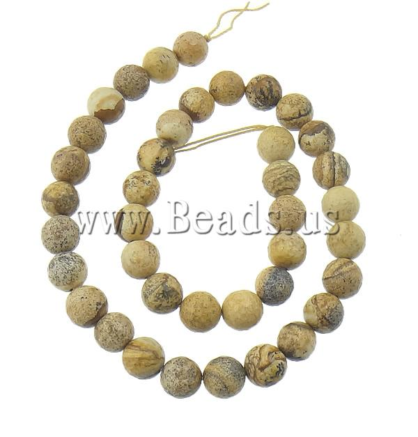 Free shipping!!!Picture Jasper Beads,Statement jewellery 2013, Round, natural, 10mm, Hole:Approx 2mm, Length:15.5 Inch