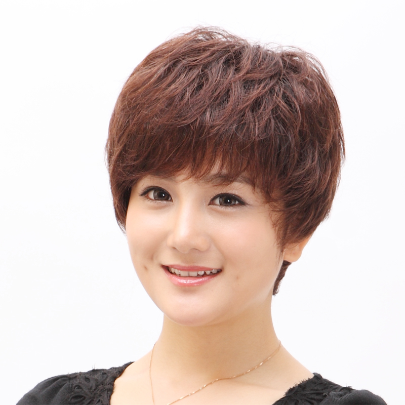 Wire real hair wig women's wifing stubbiness quinquagenarian wig z109
