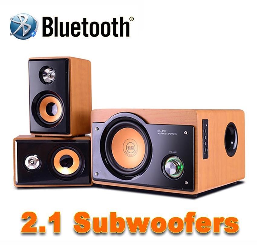 New 2.1 Hi-Fi 5 Inch Subwoofer Audio System Bluetooth Wooden Subwoofer Support TF Card And USB Audio Playback And FM Radio