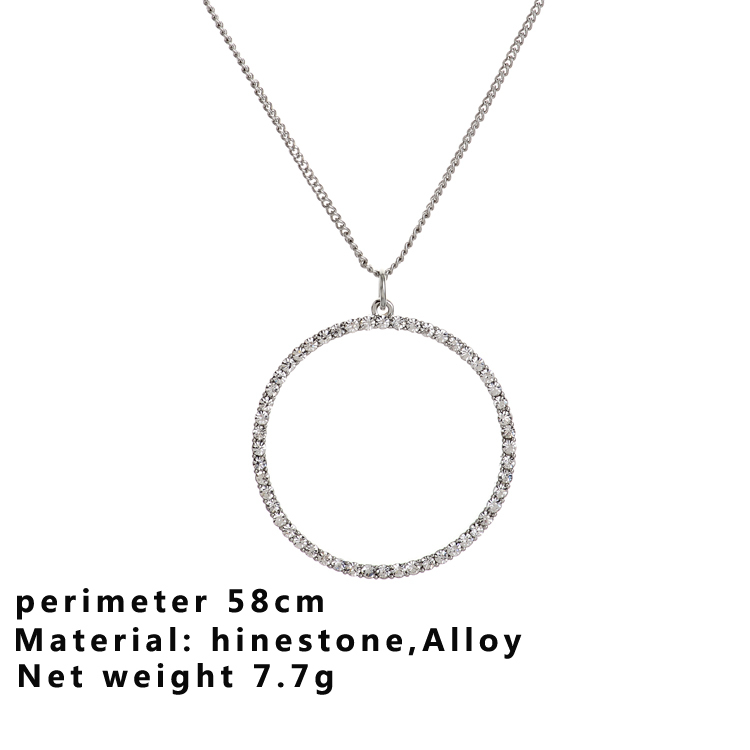 Free shipping new hot selling fashion simple modern style women ladies alloy silver round hollow rheinstone necklace pendent(China (Mainland))