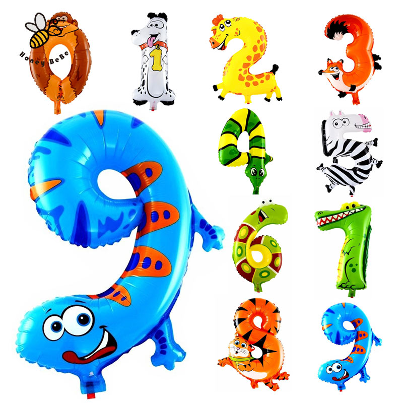 1Pcs Animal Number Foil Inflatable Balloons Wedding Happy Birthday Decoration Air Balloons Party Balloon Children's Gifts(China (Mainland))