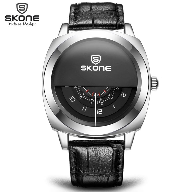 2016 Hot!Casual SKONE Genuine Men & Women Brand Wristwatches Special design Military Leather Sports Watch Relogio Masculino(Hong Kong)