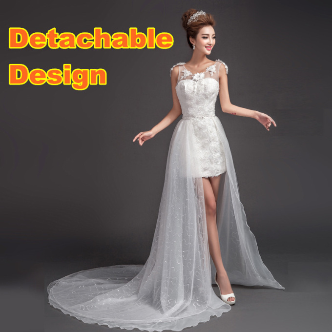 shop wedding dress detachable skirt