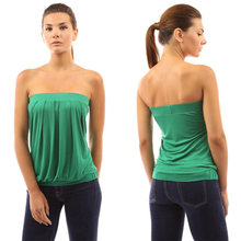 Women Sexy Strapless Ruffled Summer Tube Tank Cami Top Shirt Sleeveless Blouse Off Shoulder Slim Strapless Tops Blouses 4 Colors(China (Mainland))