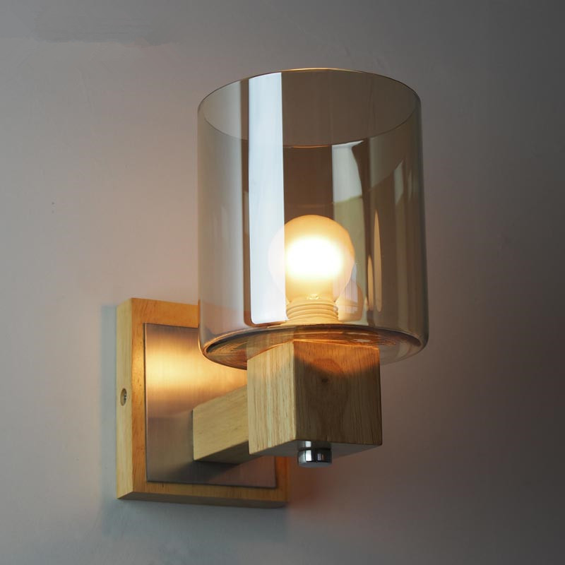 Retro Rustic Nordic Amber Glass Wall Lamp Bedroom Bedside ...