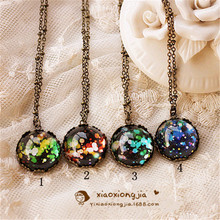 20mm Round Cabochon Glass necklace for women bronze Beautiful flowers pendant necklace vintage collares 2016 summer style(China (Mainland))