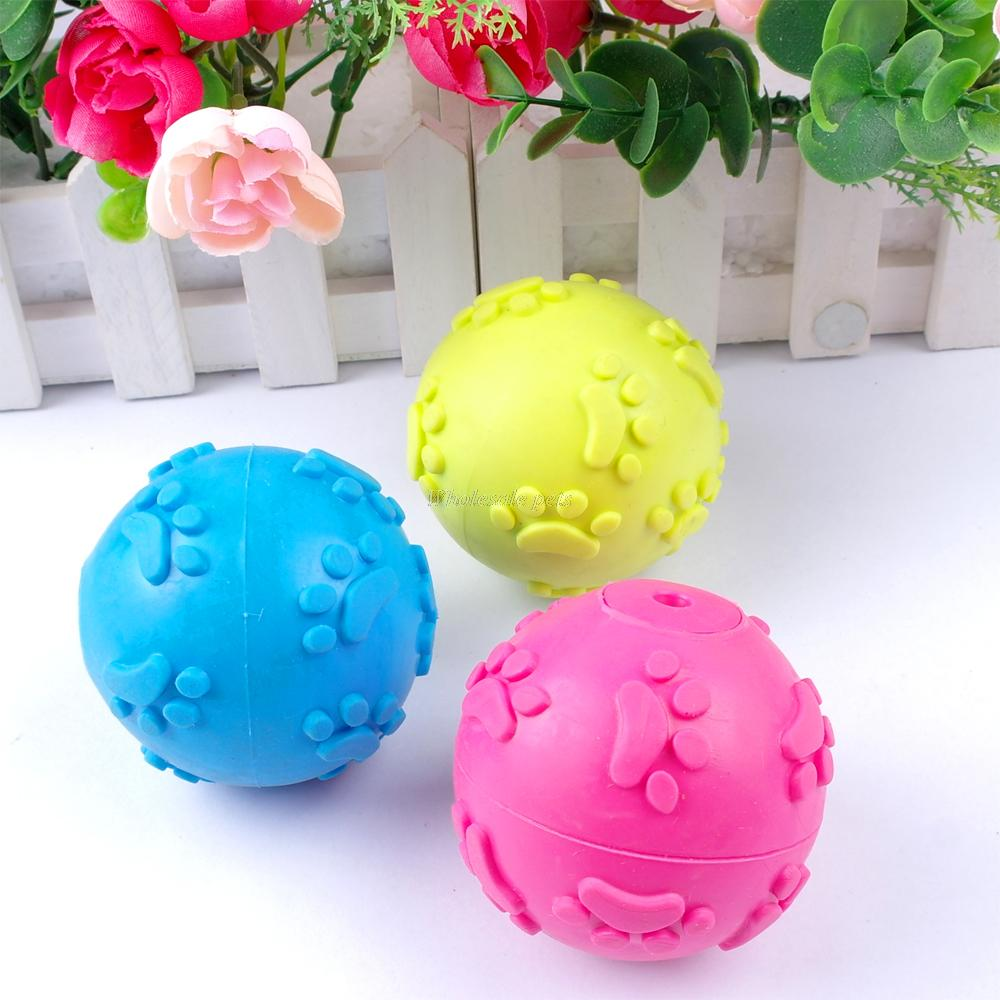 New Arrival Rubber Teeth Bite Dog Pet Paw Play Ball Toy Blue Rose Yellow(China (Mainland))