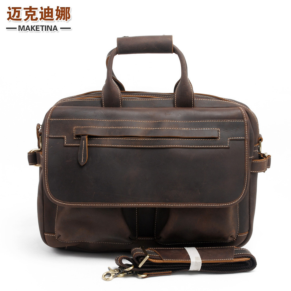 Restore Ancient Ways Layer Cowhide Handbag Crazy Horsehide Shoulder Satchel Leisure Time Leather Male Briefcase Package(China (Mainland))
