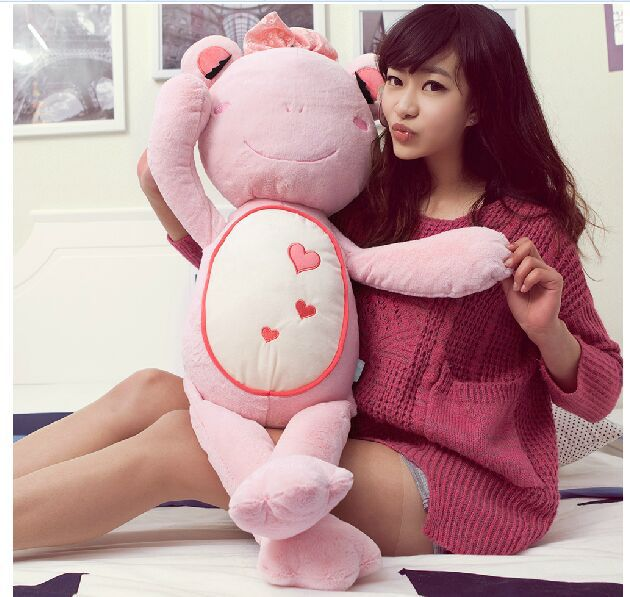 big size new creative stuffed pink frog toy plush lovely pink bow frog doll gift about 90cm(China (Mainland))