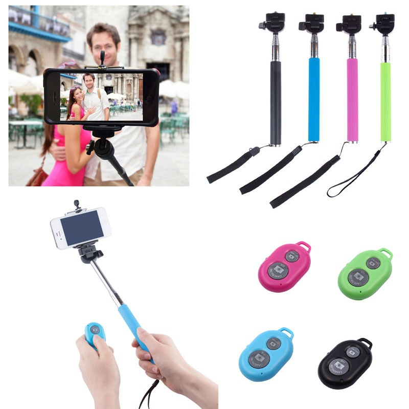 buy self selfie stick with clamp bluetooth remote shutter pau de selfie palo. Black Bedroom Furniture Sets. Home Design Ideas