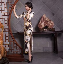 Buy New Arrival Satin Long Cheongsam Fashion Chinese Style Women's Dress Elegant Qipao Vestidos Size S M L XL XXL 246042 for $46.80 in AliExpress store