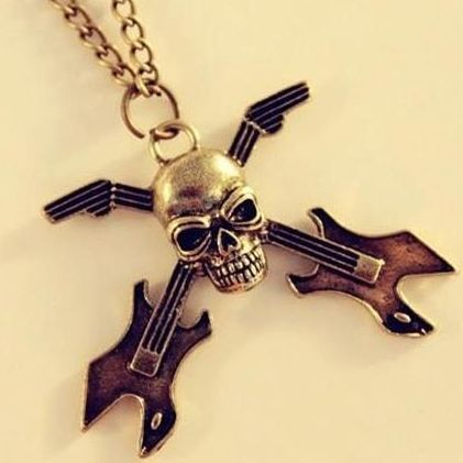 2014 Hot Selling !Punk Skull Guitar Pendant Gothic Personality Chain Necklace Fashion Jewelry For Women For Unisex Gift K43(China (Mainland))