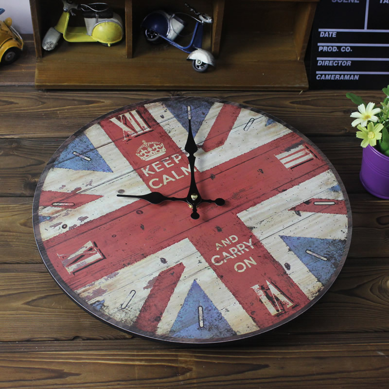 2016 New Arrival Hot Household Wall Clock Nostalgic Style of England British Flag Painted Wood Wall Clock Electronic Wall Clock(China (Mainland))