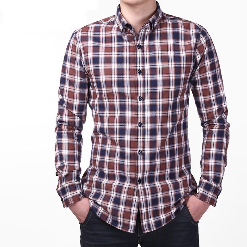 2016 Couple Lovers Plaid Shirt Men Long Sleeve Mens Dress Shirts Slim Fit Casual Shirts Men's Shirts High Quality For Male(China (Mainland))