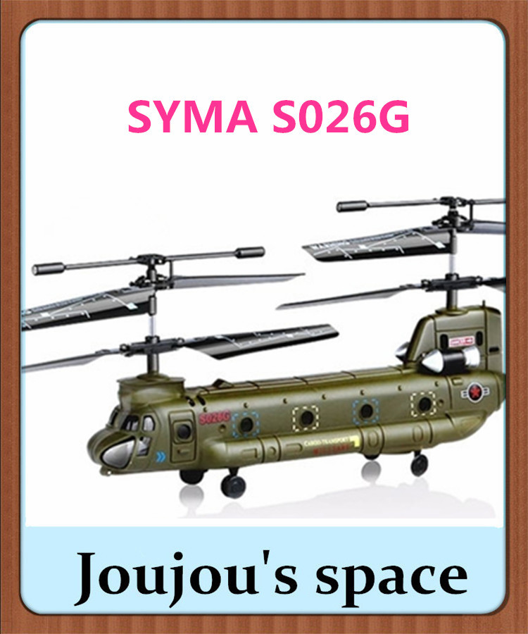 Free shipping SYMA S026G Gryo 3CH Remote Control Helicopter R/C Army Chinook with LED Lights! radio control RC helicoper RTF(China (Mainland))