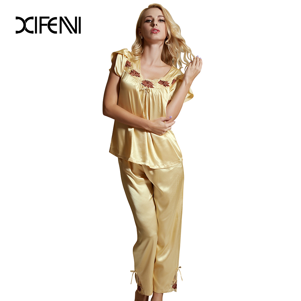 2 Pcs Pajamas For Women Short Sleeve Sleepwear Satin Pajama Sets Sexy Sleep Lounge New Arrival Summer Home Clothing Good Quality