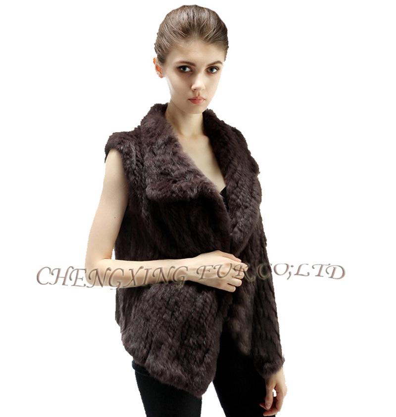 CX-G-B-38B 2015 Women New Fashion Knitted Real Rabbit Fur Vest