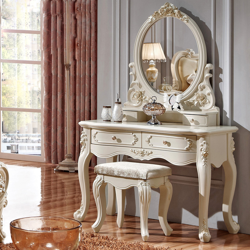 Luxury french style pricess dresser makeup dressing table with mirror
