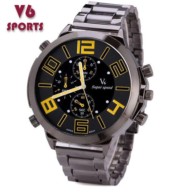 Большой дейл моде V6 сталь лента часовой марки аналоговый мужчины в военный свободного покроя кварцевый часы подарок Relogio Masculino вилочная часть