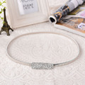 2015 New silver thin Metal Belts Fashion Waist Chain Belt square rhinestone Belts Apparel Accessories For