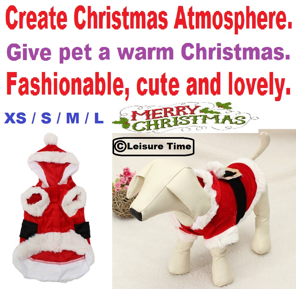 Free Shipping Pet Puppy Dog Christmas Santa Claus Clothes Hoodie Outfit Outwear Coat Clothes for dogs for cats Goods for pets(China (Mainland))