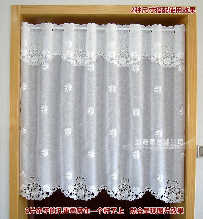 Kitchen Partition Curtains: Half Curtain Embroidered Window Valance Coffee Partition