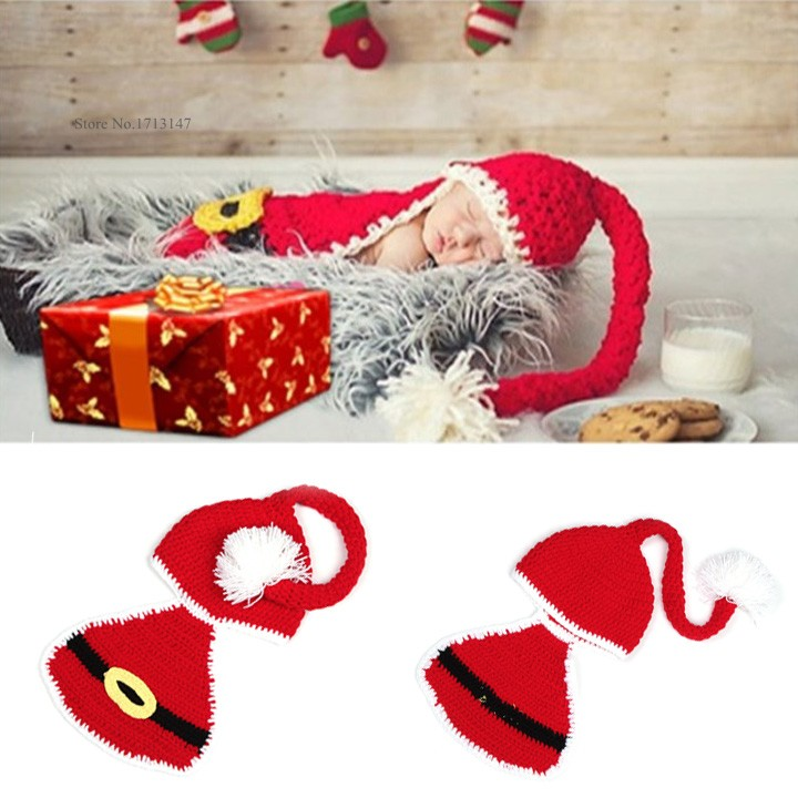 2015 New Newborn Infant Baby Santa Christmas Crochet Knitted Wool Hat Beanie Photography Props Outfits Red 0-6 Months 25(China (Mainland))