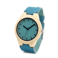 Bamboo wood watch blue causal watch genuine leather bamboo wooden quartz watches for men women best gifts with gift box