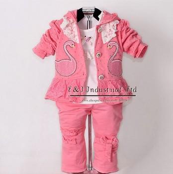 2015 New Children Spring Clothing Set Baby Girls Wear 3 Pcs Red Hoodies And T Shirt And Kids Pants Child Garment CS30202-09^^EI