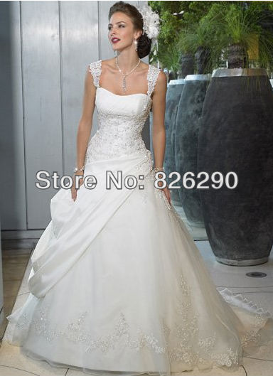 Ready sale satin material spaghetti strap appliques white/ivory dropped hot selling popular wedding dresses - Color Fashion Life store