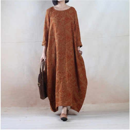 2015 Autumn and Winter Women's Plus Size Dress Big Size Loose One-piece Dress Printed One-piece dress Plus Size Maxi Loose Gowns