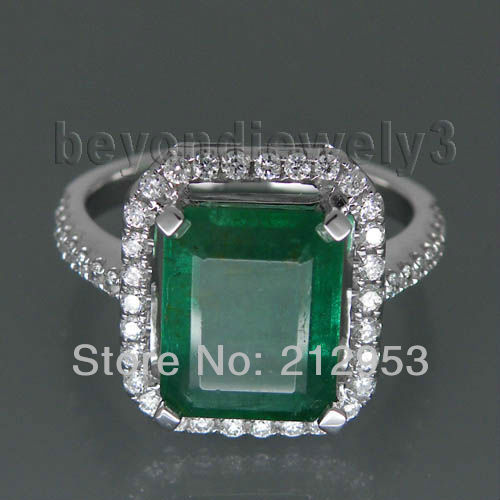 Jewelry Sets Vintage Emerald Cut 8x10mm Solid 18kt White Gold Diamond Emerald Ring WU041<br><br>Aliexpress