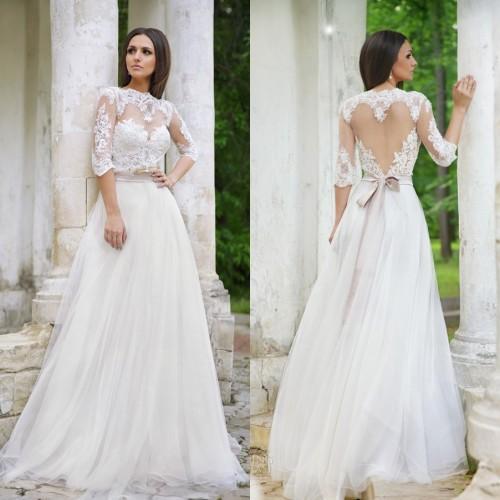 Buy new vestido de novia elegant a line 3 4 sleeve wedding dress a line