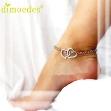 Best Deal New Diomedes Diomedes Double Heart Chain Beach Sexy Sandal Anklet Ankle Bracelet for Lady Perfect Gift 1pc(China (Mainland))