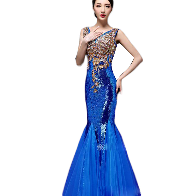 Sexy V-neck Slim Evening Dresses Of Large Sizes S-2XL Crystals Sequin Mermaid Evening Gown Robes De Soiree Longue 2016 CK50(China (Mainland))