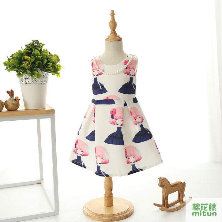 New Europe America Spring Autumn fashion print clothes flower tutu kid girls dresses female baby princess dresses 2-14 year old(China (Mainland))