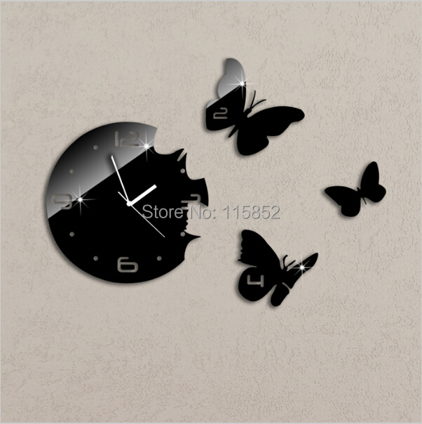 ! 3D DIY Plastic Fashion Mirror Wall Sticker Home Decor 1MM Thickness , Clocks Large - Joya Store store